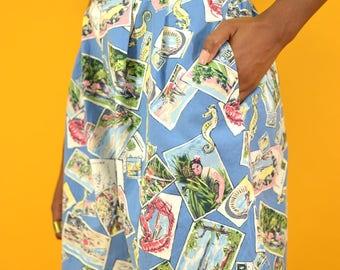 Vintage Blue High Waist Allover Print Shorts