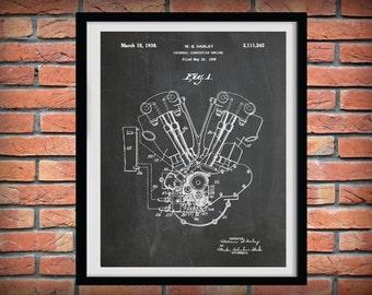 1936 Harley Knucklehead Engine Patent Print - Poster - Harley Davidson Motorcycle - Hells Angels - Harley Shrine Decor