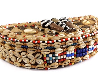 Kuba Box Bottom Crescent Beaded Cowry Shells African Art 120143