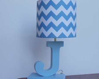 Lamp shades etsy handmade small bluewhite chevron lamp shade nursery boys lamp shade aloadofball Images