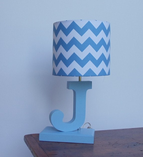 Handmade small bluewhite chevron lamp shade nursery aloadofball Choice Image