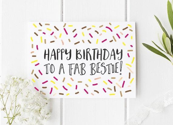 Bestie Birthday Card / Happy Birthday Best Friend / Bestfriend