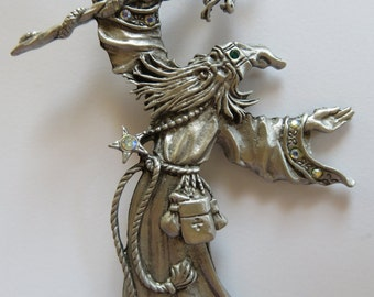 JJ Jonette Silver Pewter Mythical Jeweled Wizard Brooch Pin