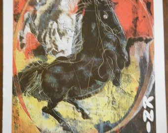 Vintage Circus Poster Print - Kinie Circus Black and White Horses Vintage Poster Size Book Plate