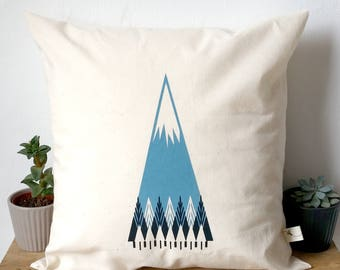 "Forest Mountain Cushion Pillow Screen Print sized approx. 12""x12"" cushion and cover"