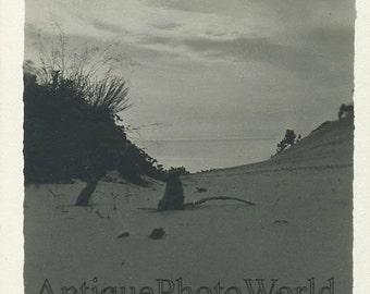 Sand dunes on beach lake antique rppc photo