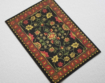 Miniature Arts and Crafts Design Red Black Floral Rug in 1:12 Scale for Dollhouse