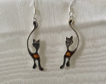 Silver and Cognac Baltic Amber Cat Earrings-925 Sterling Silver