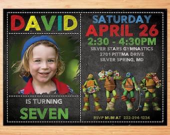Ninja Turtle Invitation , Ninja Turtles Party , TMNT invitation , Teenage Mutant Ninja Turtle invitations , TMNT Birthday Invitation , TMNT