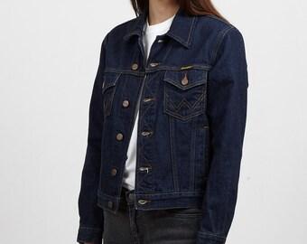 Vintage Navy Blue Denim Wrangler Jacket/ Size Large