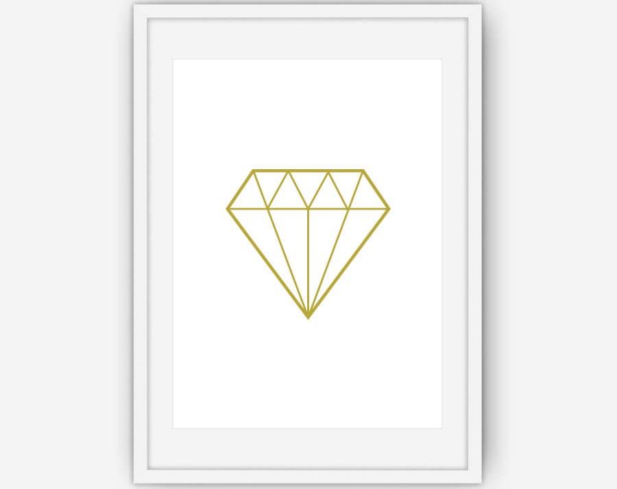 Gold diamond print gold wall art diamond print gold print