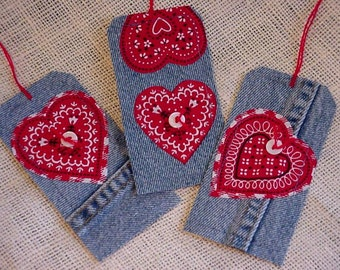 Valentine Denim Tags Gift Tags Upcycled Blue Jean Red Bandana Heart TIe Ons Bookmark Cowgirl Sweetheart itsyourcountry