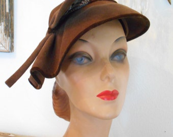 Awesome 1940's Brown Felt Tilt Hat with Feather