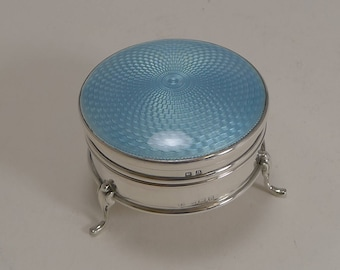 Vintage English Sterling Silver and Guilloche Enamel Jewelry Box
