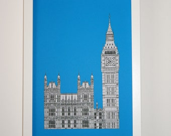 Big Ben - Picture of London - London Print - London Art - Big Ben drawing, London illustration, art print, England, Illustration of London