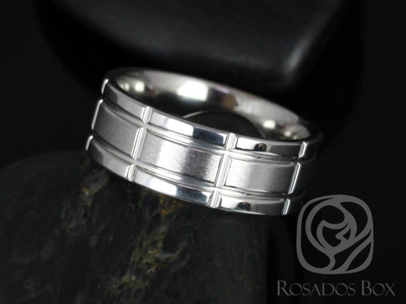 Rosados Box Paul 8mm Cobalt Laser Etched Grid Pattern Pipe Duo Finish Band