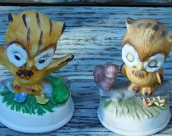 Vintage Ceramic Pair of Owl with Animals Figurines