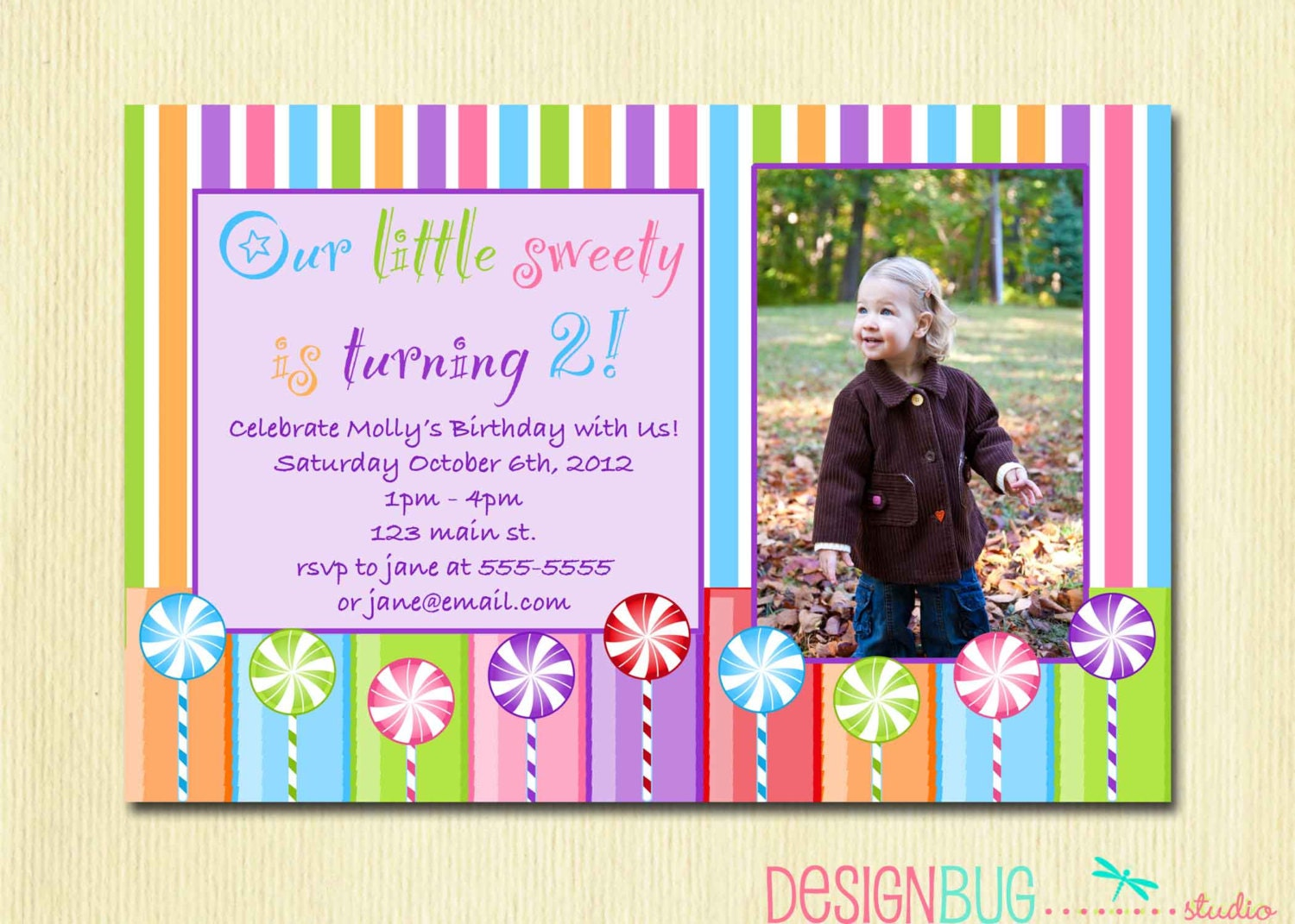 Lollipop Birthday Party Invitation DIY Printable Candy