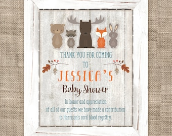 Woodland Animals Custom Thank You Sign