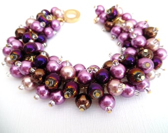 Purple Pearl Beaded Bracelet, Orchid and Chocolate Brown, Wedding Jewelry, Christmas Gift, Cluster Bracelet, Pearl Bracelet, Chunky Jewelry