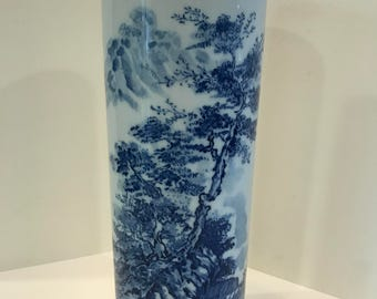 JUST REDUCED!! Vintage Blue and White Asian Ceramic Vase