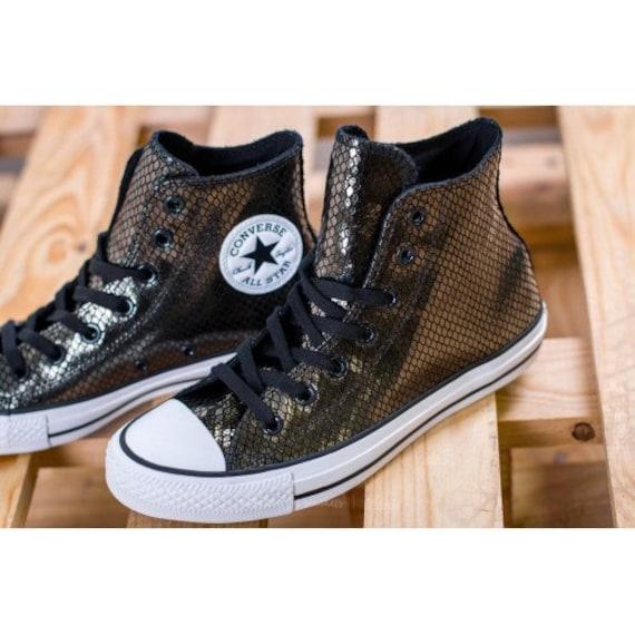 Black Leather Converse High Top Snake print w/ Swarovski Crystal rhinestone Custom Club Kicks Chuck Taylor All Star Wedding Sneakers Shoes