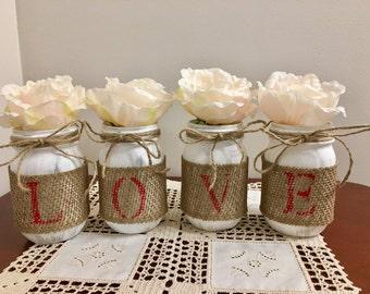 LOVE Pint Size Mason Jars, Valentine's Day Home Decor, Rustic Home Decor, Rustic Valentine's Day Decor