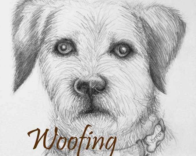 Pet Portrait drawn in pencil and mounted in a cream mount. Great for remembering your fur baby, dog, pooch, hound, pet friend. Great gift.