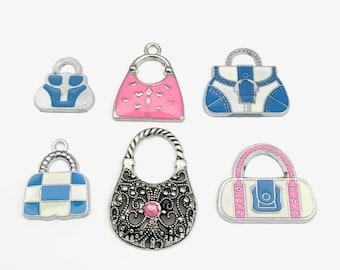 6 handbag silver tone and enamel charms,18mm to 33mm #ENSA 03