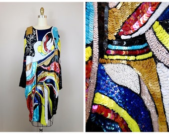 Bright Abstract Sequined Dress // Colorful Trophy Dress // Plus Size Sequin Dress L XL -- as is