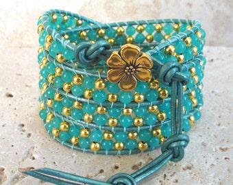 Ah-mazing Amazonite 4mm Beaded Leather 4-Wrap Bracelet