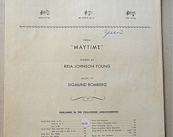 "SaLE - 1937 Antique Sheet Music: WILL YOU Remember (Sweetheart) from ""Maytime"""
