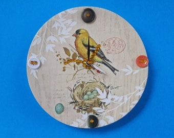 Repurposed Handmade Vintage Plate Wall Clock, Functional Art, Nature Clock, Bird Plate Clock, Upcycled Clock, Made By Mod.