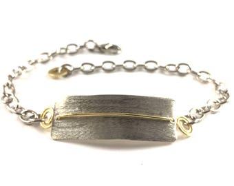 Bar Bracelet Handmade Small Mixed Metal Jewelry