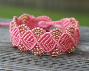 REDUCED. Micro-Macrame Beaded Bracelet. Pink Beaded Bracelet. Macrame Jewelry. Tie On Bracelet. Adjustable Beaded Bracelet. Arm Candy.