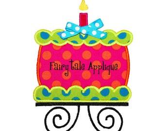 Digital Machine Embroidery Design -  Whimsical Birthday Cake Applique