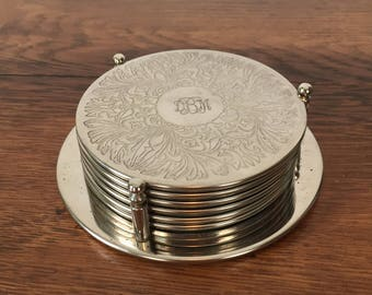 Silverplate Coasters in Holder - Initials DBM