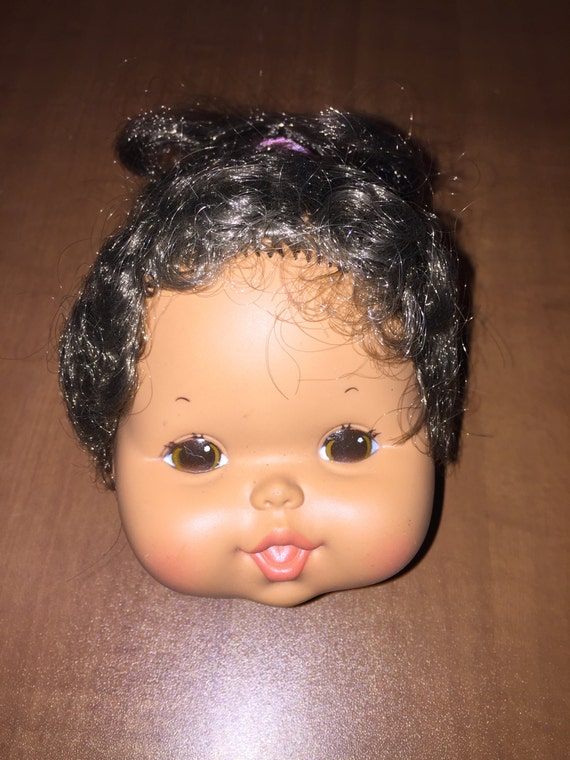 Vintage Rare Tan Tone Doll Head with Ponytail and Pink Hair Bow Dollmaking Supplies NOS H3