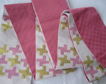 Checker and geometric shapes hanhaba obi for kimono or yukata LONG - Kimono sash for kitsuke - VINTAGE -USED