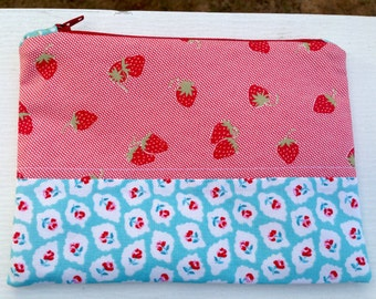 Cute zipper bag zippered pouch small zipper pouch makeup bag craft pouch sewing accessory small project bag notions bag strawberry pouch