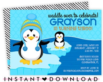 Penguin Invitation, Penguin Birthday Party, Penguin Birthday Invitation, Penguin Invite, Penguin Party, Penguin Birthday, Penguin Baby | 151