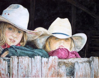 Western Decor Print - Little Western Cowgirls peering out a barn window.