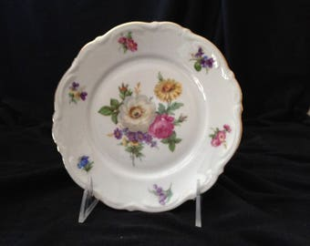 Meissen Floral by Mitterteich Bavaria Bread and Butter Plate with Elegant Gold Trim - Made in Germany; New Condition Vintage
