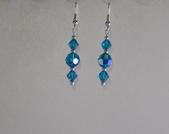 Swarovski Crystal Bridal / Party Earrings - MADE To ORDER in Any Color - Silver French Wires, Leverbacks or Posts - Shown in Blue Zircon AB