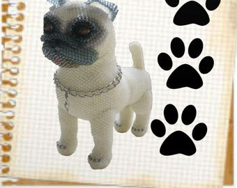 "Pattern / Tutorial Beaded Ornament - Master class for creating "" Pug Bead """