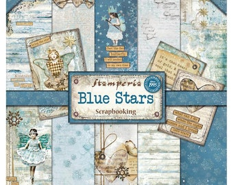 STAMPERIA BLUE STARS, Stamperia, Altered Art Paper, Blue Paper Pack, Blue Card Stock, Angels Card Stock, Blue Theme Card Stock