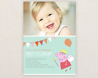 Photo Birthday Party Invitations. Peppa Pig. I Customize, You Print.