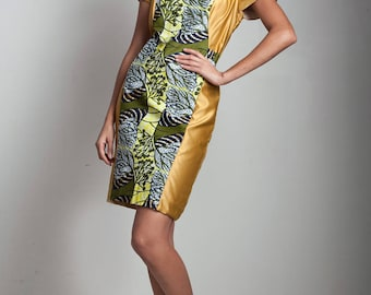vintage African print sheath gold mini dress short sleeves yellow green white SMALL S