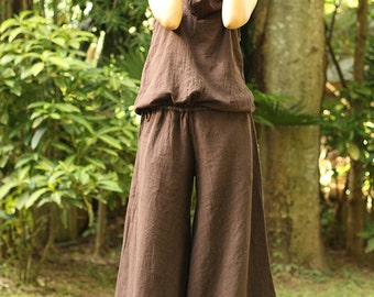 Hoodie Jumpsuit with hood Hemp/cotton natural cotton in Brown colore / Boho/ long pants /hippie / wide side...