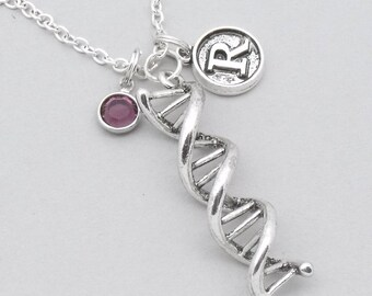 DNA science necklace with vintage style initial | personalised DNA jewellery | DNA gift | science genetics gift | birthstone